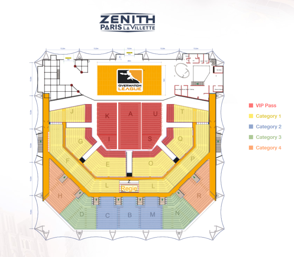 The seating plan for Zenith Stadium, showing the colour-coded areas for different ticket holders